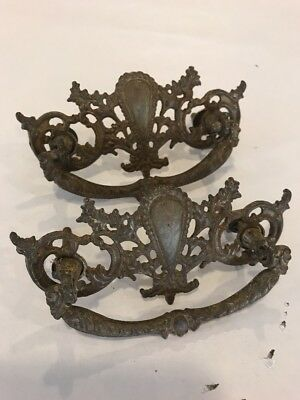 "Lot of 2 VINTAGE ANTIQUE PRESSED ORNATE BRASS DRAWER PULLS 4.5"" Long / 3"" holes"