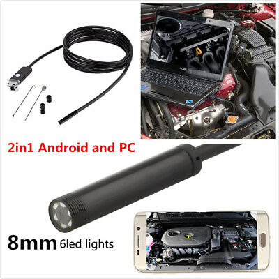 8mm 5M Endoscope HD 2in1 Android PC Endoskop Car Vehicle USB Inspection Camera