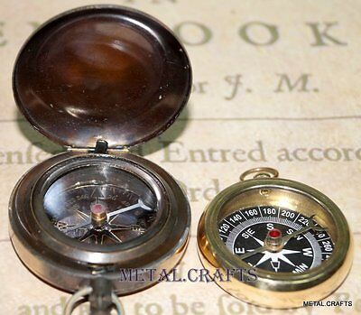 Vintage Locket Neckles Brass Compass Push Button And Antique Brass Compass Gifts