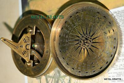 Vintage Sundial Mary Rose Brass Compasses Nautical Brass Sundial Compass LID Cap