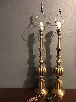 """Vintage Pair Hollywood Regency Brass  Rembrandt Lamps Tall 29"""" & Heavy 10 Lbs ea"""