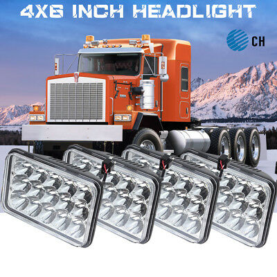 4x LED Projector Headlights Hi/Low Headlamp For Kenworth C500 W900 T800
