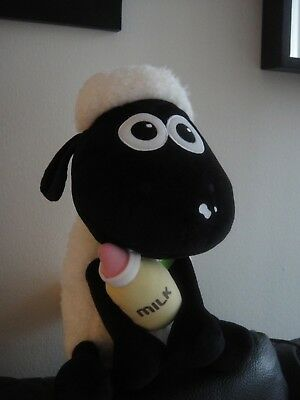 """NEW Baby Shaun the Sheep with Milk Bottle and Bib Plush [Over foot tall! 15.5""""]"""
