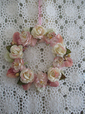 Shabby Chic Floral Wreath>Wall Hanging>Velvet Roses>Pink >17 Cms> # 6