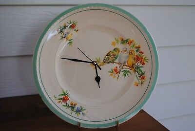 Vintage Swinnertons Majestic Vellum Budgerigars White Green Yellow Clock Plate