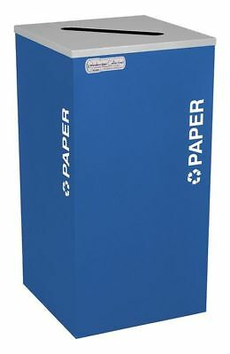 24 gal. Recycling Container Square, Blue Steel & Plastic TOUGH GUY 5UJD0