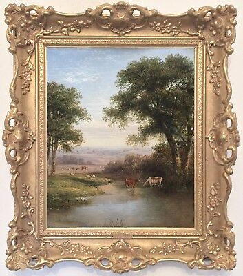 Cattle in River Landscape Antique Oil Painting Walter Heath Williams (1835-1906)