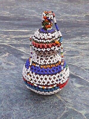 Colourful South African Zulu Xhosa Beaded Snuff Gourd With Stopper No Tsonga Dan