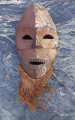 Unusual African Tribal Art Congo Painted Mask With Raffia Possibly Lega Not Luba