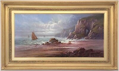 Boats off the Coast Antique Oil Painting by Sidney Yates Johnson (fl.1890–1929)