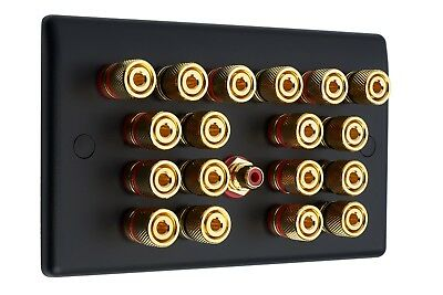 9.1 Matt Black Speaker Wall Face Plate 18 Gold Binding Posts + 1 RCA Socket