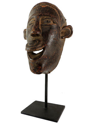 Makonde Mask with Lip Plug Custom Stand African Art