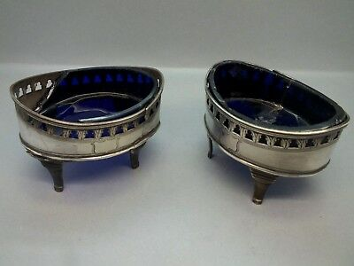 Pair of Late 18th C Georgian Solid Silver Salts and Liners 1795, In Need of TLC