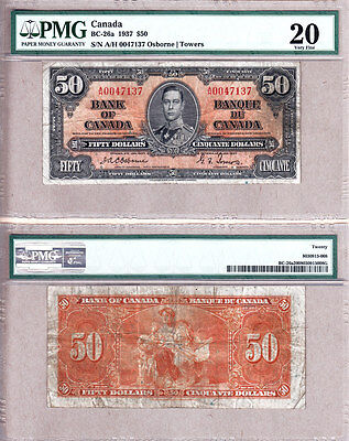 1937 $50 KGVI Bank of Canada; Scarcer OSBORNE & Towers BC-26a.  PMG VF20