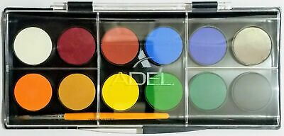 Adel 12 Watercolour Tray with Brush - 30mm diameter Round Pans