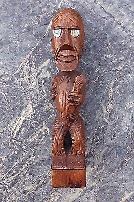 Well Carved New Zealand Maori Tiki Warrior Figure With Club & Paua Shell Eyes Nr