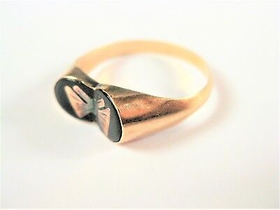 Ring Rosegold 585 mit Emaille, 1,55 g, Schmetterling