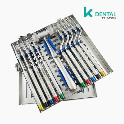 Set of 10 Osteotomes curved and straight with convex tip sinus lift dental surge
