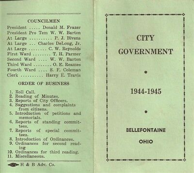 Vintage 1944 Bellefontaine Ohio City Government Brochure