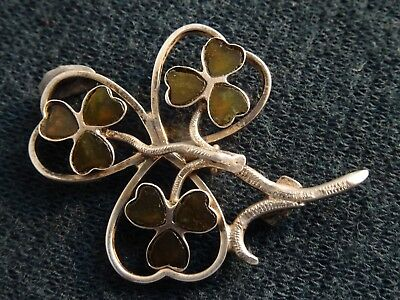 VINTAGE 1960's HALLMARKED SILVER NATURAL STONE CLOVER LEAF BROOCH JEWELLERY PIN