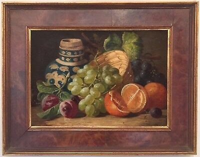 Still Life with Fruit Antique Oil Painting by Charles Thomas Bale (fl.1868-1892)