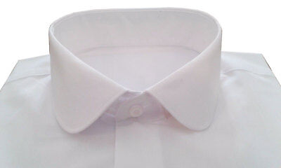 "New Mens Penny Round Collar Dress Formal Evening Wedding Shirt in White 14""- 18"""