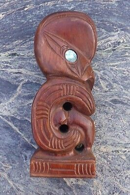 Large Well Carved Oceanic New Zealand Maori Tiki Figure With Paua Shell Eyes Nr!