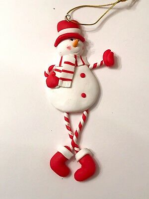 S//5 Snowman Man Cupcake Lollipop Clay Xmas Tree Ornament Peppermint Candy Icecre