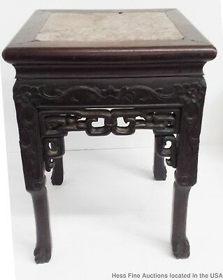 Antique Late Qing Carved Wood Marble Chinese Plant Stand 18in