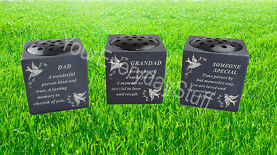 Memorial Stone Pot Plaque Loved One Memory Grandad Grave Stone Ornament Special