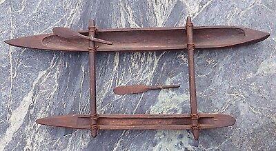 Superb Large Carved Wood Oceanic Polynesian Model Outrigger Canoe & 2 Paddles Nr