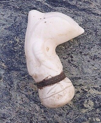 Good Old Antique Malay Carved Giant Clam Shell Kris Handle With Native Repair Nr