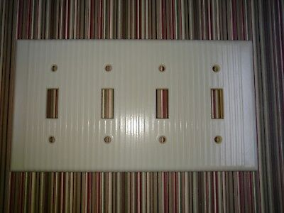 Vintage Leviton Bakelite Ribbed Quadruple 4 Light Plate Wall Cover Ivory