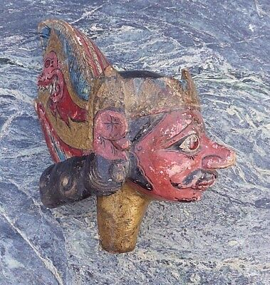 Good Large Old Indonesian Bali Carved Wooden Hand Painted Dancing Puppet Head Nr