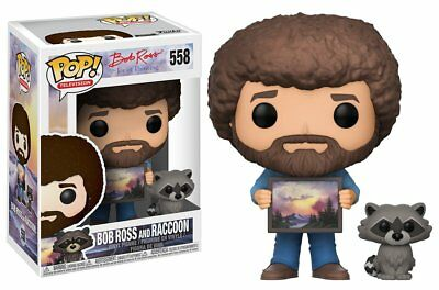 "New Fall 2017 Funko Bob Ross And Raccoon Pop 3.75"" Vinyl Figure IN STOCK"