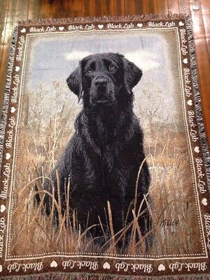 Love Black Labrador Retriever Lab dog Cotton Jacquard Woven Throw Blanket NEW