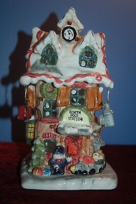 Vintage Clayworks Blue Sky Heather Goldminc Christmas North Pole Station Candle
