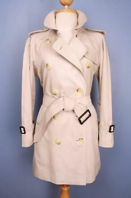 BEAUTIFUL Womens BURBERRY Double Breasted Short TRENCH Coat Mac Beige 10/12