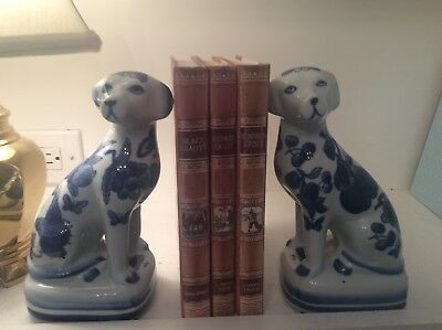 Pair of  BLUE & WHITE PORCELAIN CHINOISERIE Dog bookends