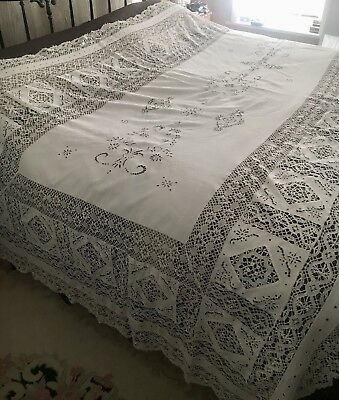 "Huge Rectangle Antique Needle Lace Linen Table Cloth Bedspread 128""-64"" Vintage"