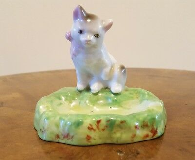 Occupied Japanese unusual Ashtray with Porcelain Cat on top