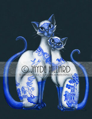 "Blue Willow Siamese Cats 8.5""x11"" Art Print Direct from the Artist Retro Kitsch"
