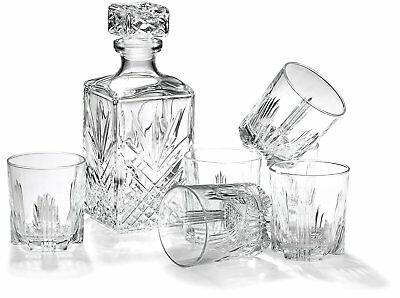 Whiskey Set Decanter Glasses Crystal Scotch Bar Glass 7 Piece Italian Made Ware