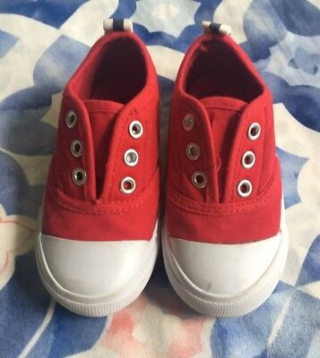 French Soda Size 23 Baby/Toddler Red Canvas Slip On Shoes