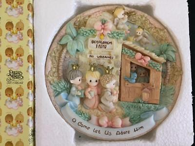 Precious Moments Christmas plate nativity hinged door Come Let Us Adore Him