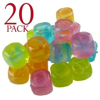 Multi-coloured Reusable Ice Cubes For Cooling Your Drinks (Pack of 20)