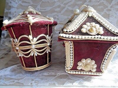 Pair of Vintage Christmas  Ornaments - LARGE VICTORIAN STYLE BIRDHOUSE