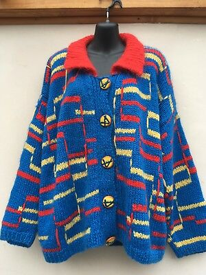 VINTAGE 1980s EILEEN KIRBY FOR KOKO HAND KNITTED BRIGHT CARDIGAN. LARGE/XL