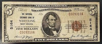 1929 $5.00 National Currency, The National Exchange Bank of Wheeling, WV!