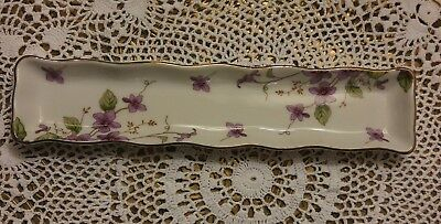 Vintage Lefton Small Tray Purple Violets